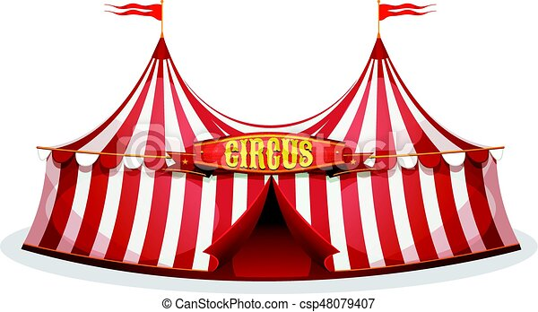 Big Top Circus Tent - csp48079407  sc 1 st  Can Stock Photo & Illustration of a cartoon big top circus tent with red and ...