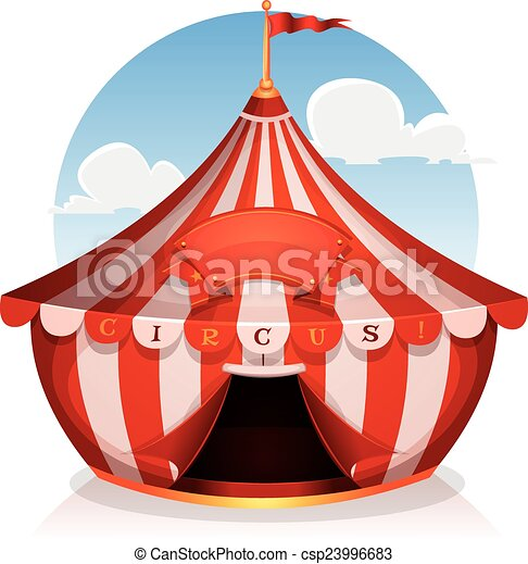 Big Top Circus With Banner - csp23996683