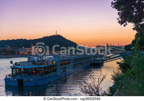 big touristic steamboat on Danube at sunset - csp38302594