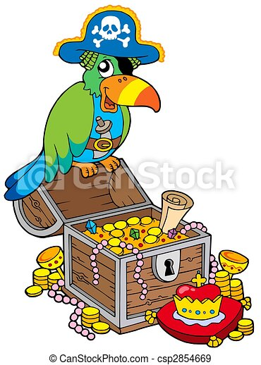 Big treasure chest with pirate parrot - csp2854669
