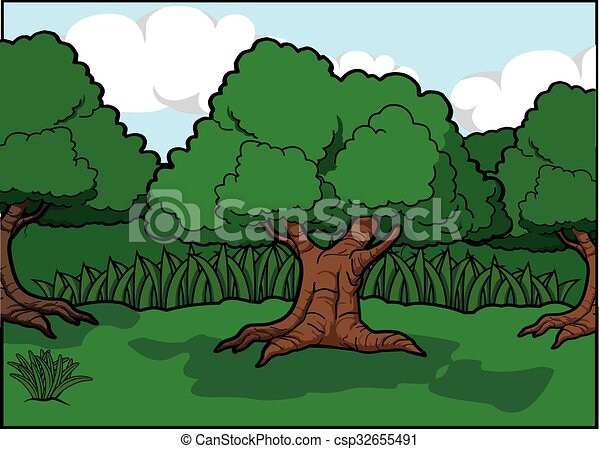 Big tree scenery around forest - csp32655491
