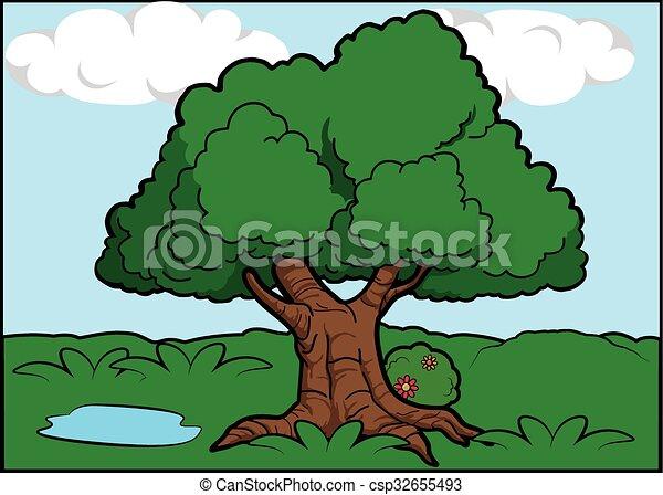 Big tree scenery around forest - csp32655493