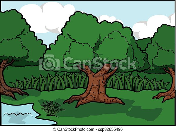 Big tree scenery around forest - csp32655496