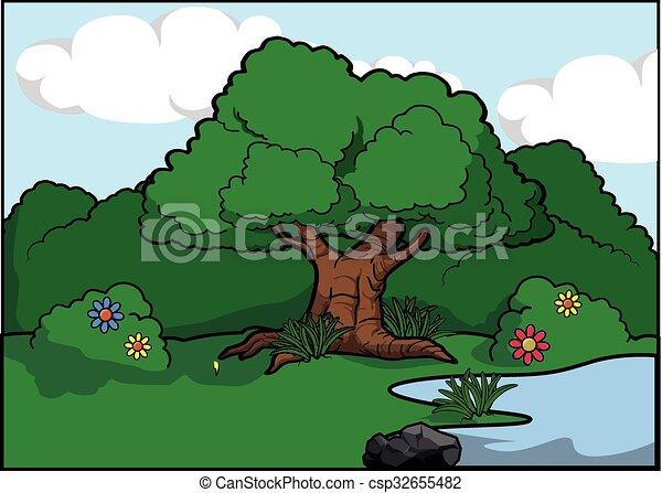 Big tree scenery around forest - csp32655482