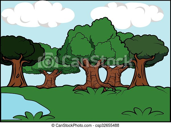 Big tree scenery around forest - csp32655488