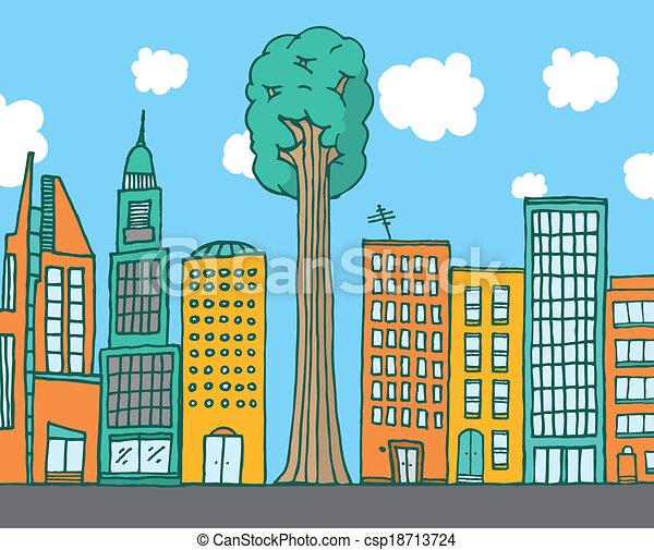 Big tree standing among city buildings - csp18713724