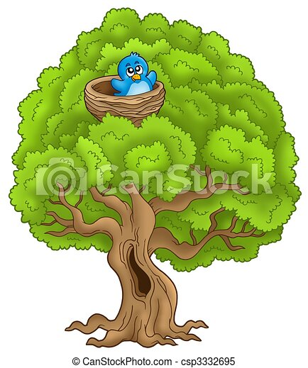Big tree with blue bird in nest - csp3332695