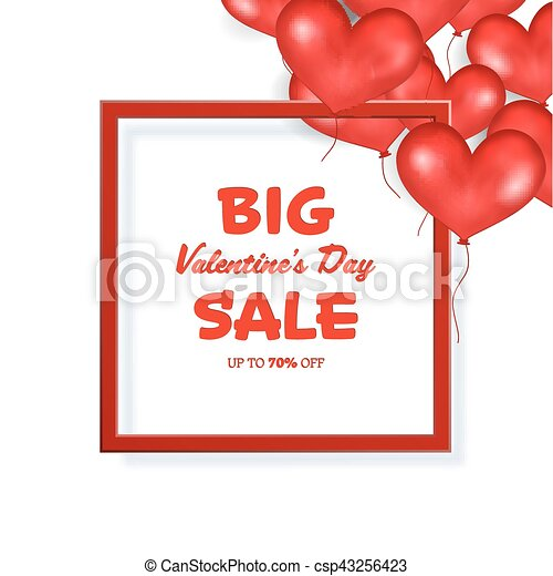 Big valentine s day sale banner template. red frame. place... vector ...