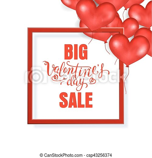 Big valentine s day sale banner template. red frame. place for text ...