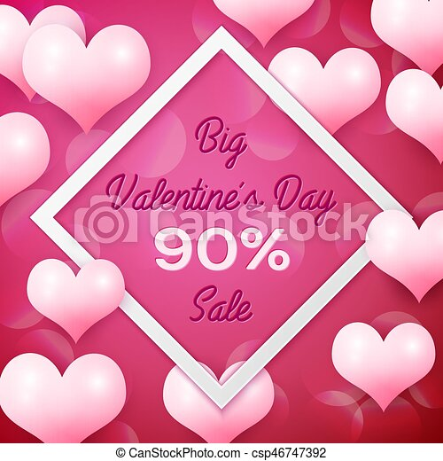 Big valentines day sale 90 percent discounts with white square frame. background with pink balloons heart pattern. wallpaper, flyers, invitation, posters, ...