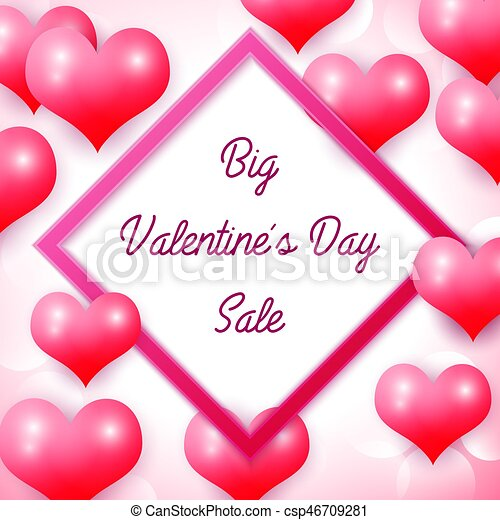 Big Valentines Day Sale With Pink Square Frame Background Red Balloons Heart Pattern Wallpaper Flyers Invitation Posters Brochure
