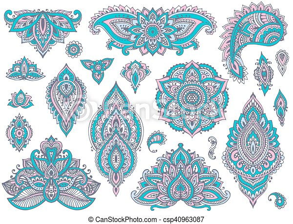 Big vector set of colorful henna floral elements - csp40963087
