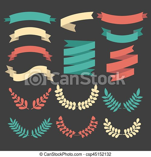 Big vector set of different laurels, wreaths and ribbons in modern flat style. - csp45152132