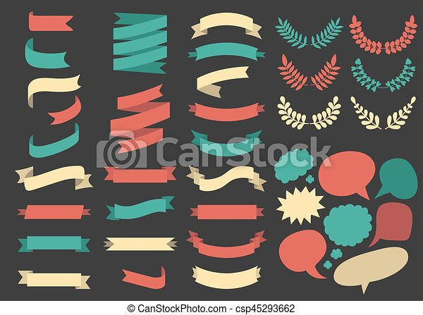 Big vector set of ribbons, laurels, wreaths and speech bubbles in flat style. - csp45293662