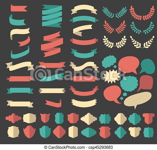 Big vector set of ribbons, laurels, wreaths and speech bubbles in flat style. - csp45293683