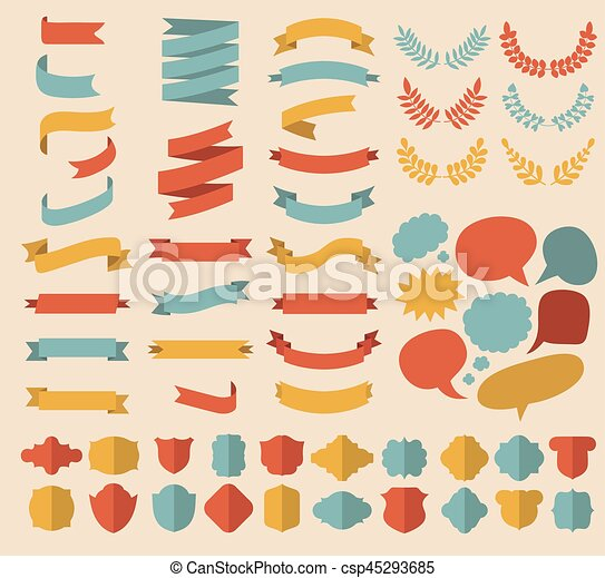 Big vector set of ribbons, laurels, wreaths and speech bubbles in flat style. - csp45293685
