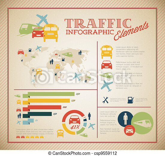Big Vector set of Traffic Infographic elements - csp9559112