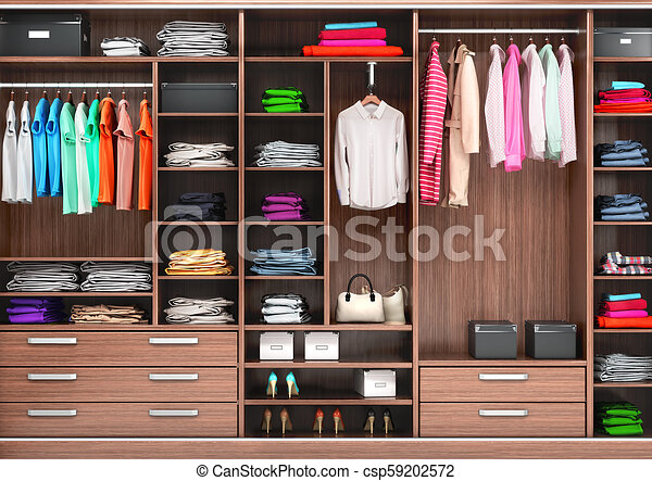 best service 885d1 b980f Big wardrobe with different clothes for dressing room. 3d illustrations