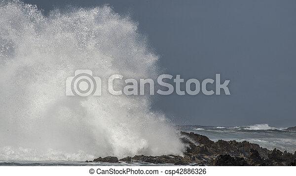 Big Wave Brakes on Rocks - csp42886326