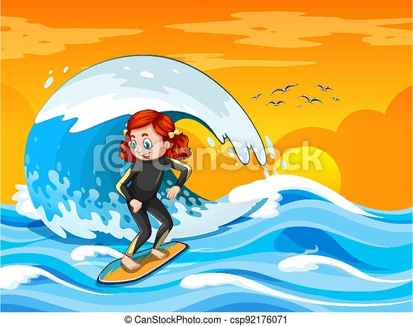 Big wave in the ocean scene with girl standing on a surf board - csp92176071