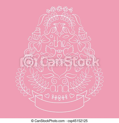 Big wedding graphic set of laurels, wreaths, arrows, ribbons, hearts, flowers, birds and labels in vector. - csp45152125