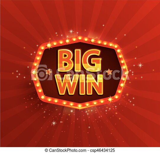 Big win retro banner with glowing lamps. - csp46434125