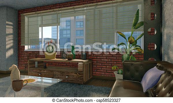 Big window in modern loft apartment interior