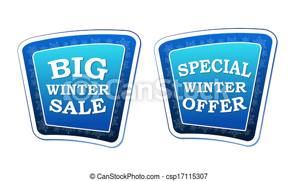 big winter sale and special winter offer - text on blue banners with snowflakes signs, retro style, business seasonal concept - csp17115307