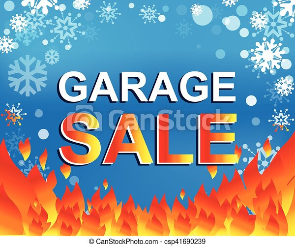 big winter sale poster with garage sale text advertising vector