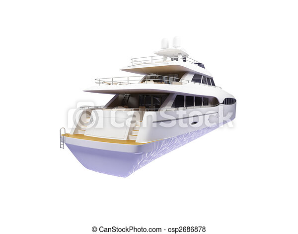 Big yacht isolated back view - csp2686878