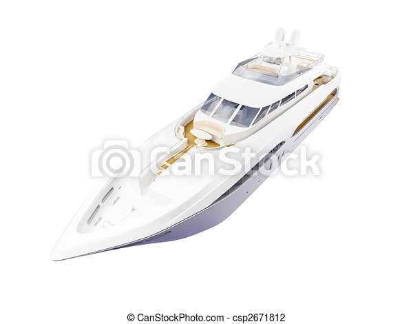 Big yacht isolated front view - csp2671812