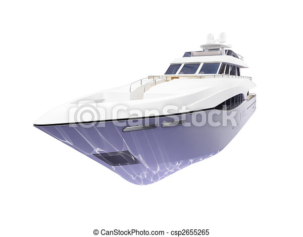 Big yacht isolated front view - csp2655265