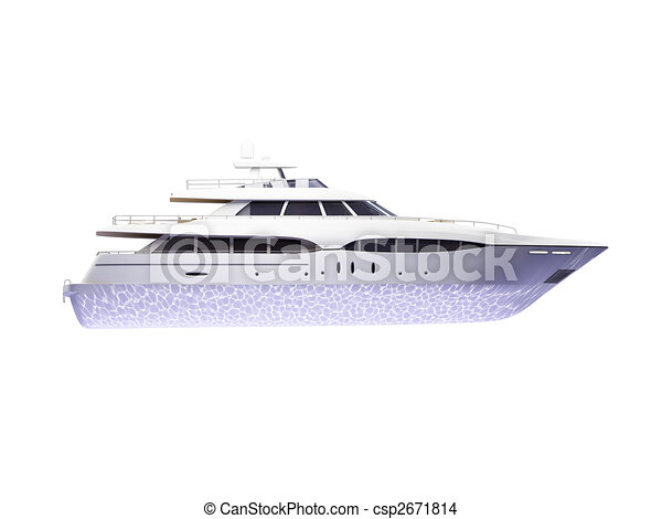 Big yacht isolated side view - csp2671814