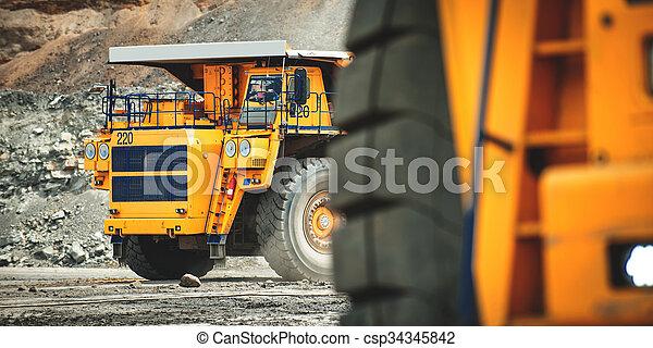 Big yellow mining truck. Belaz. - csp34345842