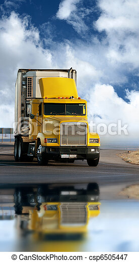 Big yellow trailer on the road - csp6505447