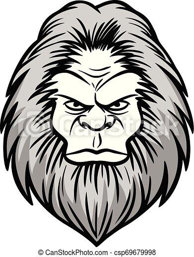 Bigfoot Head Illustration - csp69679998
