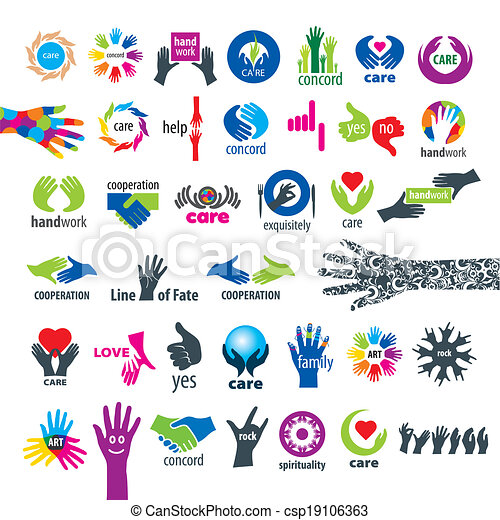 biggest collection of vector icons hands - csp19106363