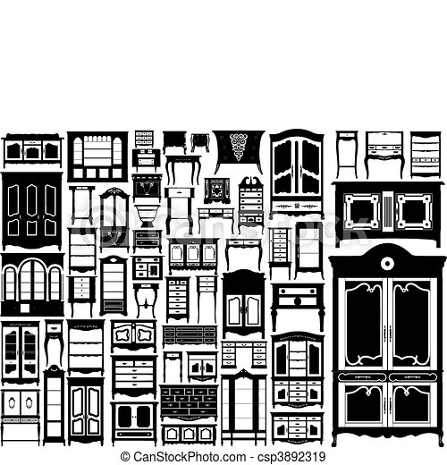 biggest dressers collection. vector - csp3892319