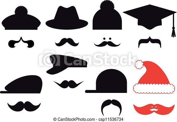 bigode, jogo, vetorial, chapéus - csp11536734