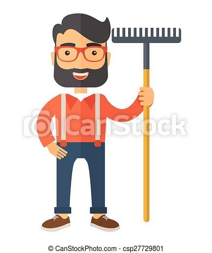bigode, segurando, rake., homem - csp27729801
