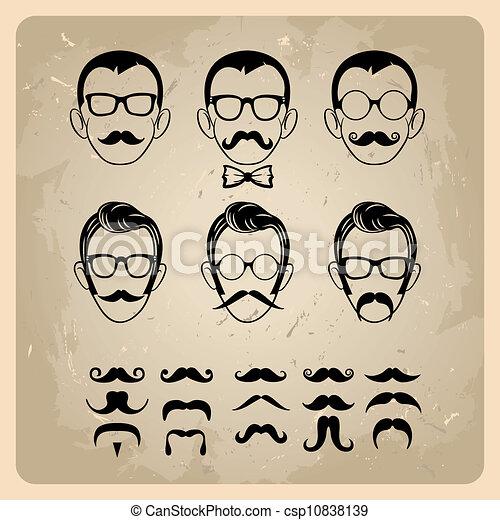 bigodes, caras, óculos de sol - csp10838139