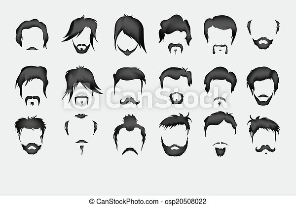 Worksheet. Ilustracin vectorial de bigote set vector pelo barba