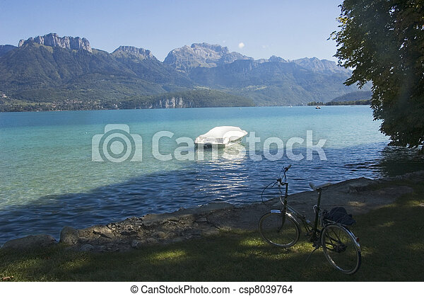 Bike, boat and lake Annecy - csp8039764