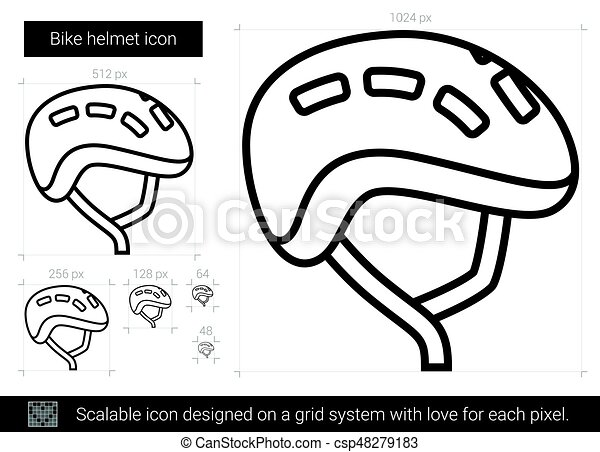 Bike Helmet Line Icon Bike Helmet Vector Line Icon Isolated On