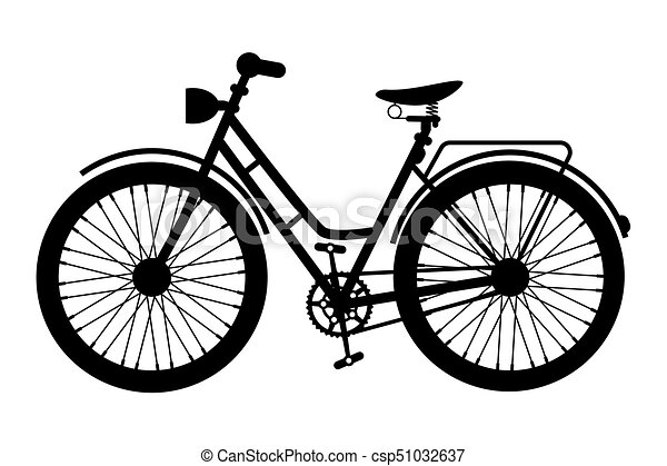 Bike Icon. Black Bicycle Symbol Silhouette Isolated on White Background. - csp51032637
