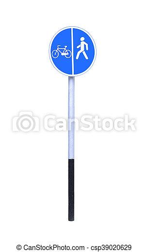 Bike lane and pedestrian walkway sign on white background. - csp39020629