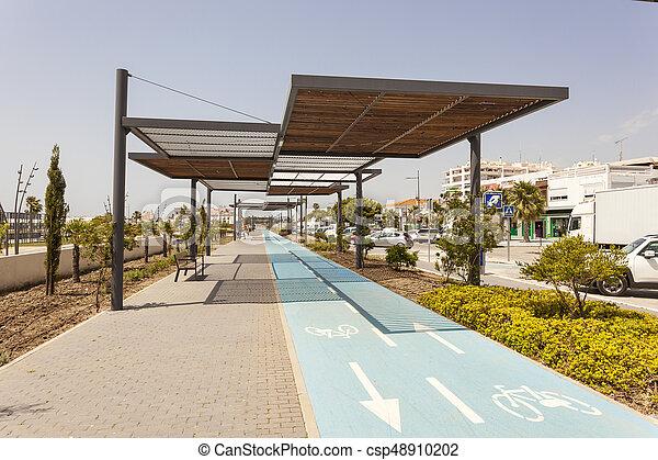 Bike lane in San Pedro de Alcantara, Spain - csp48910202