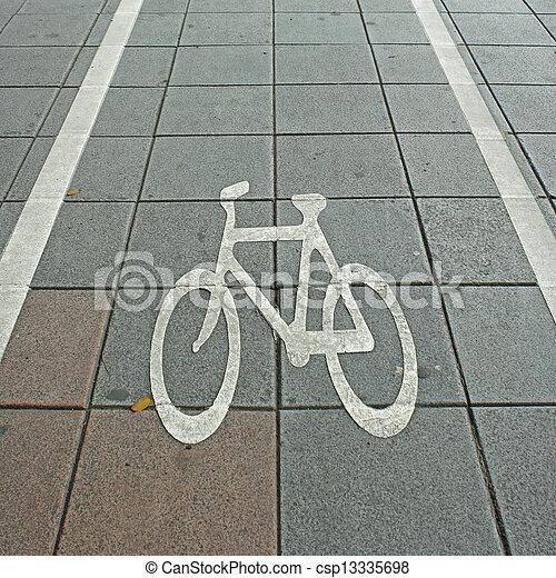 Bike Lane Symbol On Road