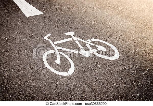 Bike Lane Symbol Bicycle White Sign On Road