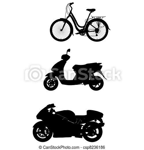 bike motor silhouette outline - csp8236186